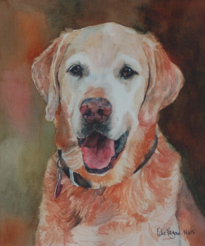 Edie Fagan Adored Dogs watercolor portrait of dog watercolor painting of golden retriever dog
