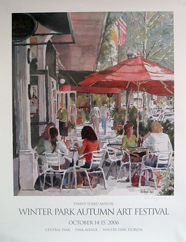 watercolor painting of Autumn Art Festival 2006 Winter Park by Edie Fagan