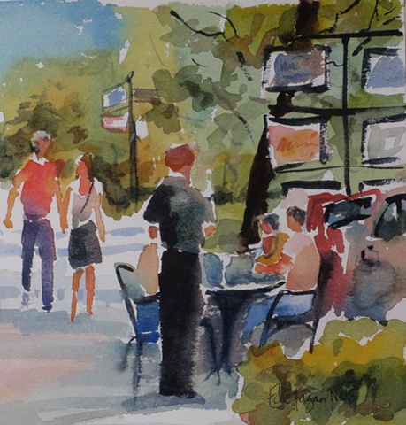 watercolor paintingby Edie Fagan of Park Avenue Winter Park Florida cafe people figures