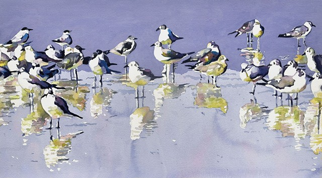 sea gulls, beach birds, original watercolor by Edie Fagan