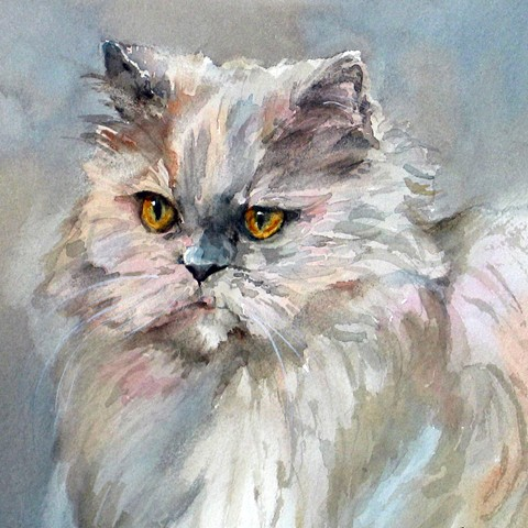 watercolor painting of Persian cat by Edie Fagan
