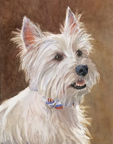 Edie Fagan Adored Dogs watercolor portrait of dog watercolor painting of West Highland Terrier westie dog white