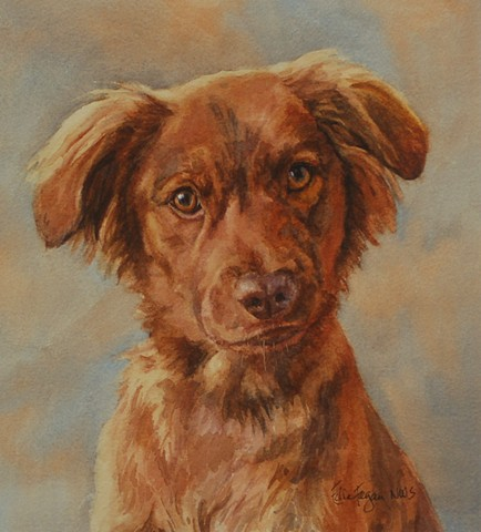 watercolor dog portrait of brown dog by Edie Fagan Adored Dogs mixed breed, mutt