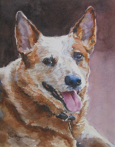watercolor painting of Australian Cattledog cattle dog