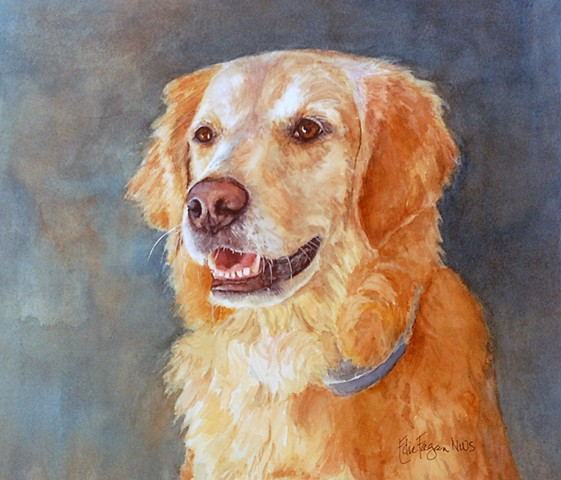 golden retriever watercolor portrait painting dog goldendoodle by Edie Fagan Adored Dogs