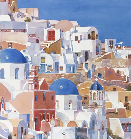 watercolor painting by Edie Fagan of Santorini Greece Greek