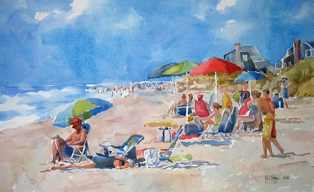 watercolor painting by Edie Fagan of beach umbrellas Nantucket Martha's Vineyard watercolor