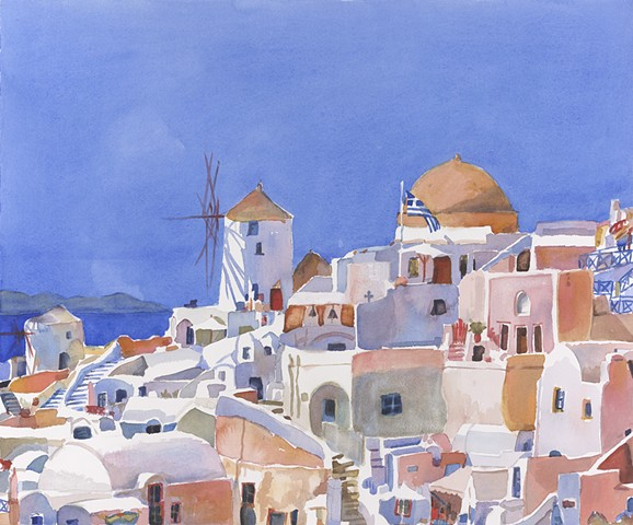 watercolor painting by Edie Fagan of Santorini Greece Greek flag