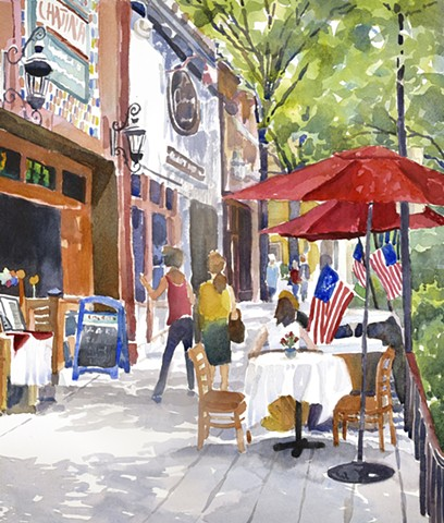 Watercolor painting of downtown Greenville South Carolina main street people cafe umbrellas American Flags, streetscape