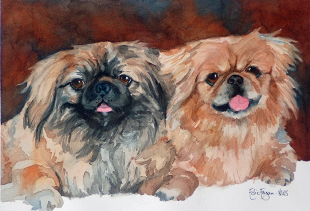 watercolor painting of pomeranian pekingnese dog