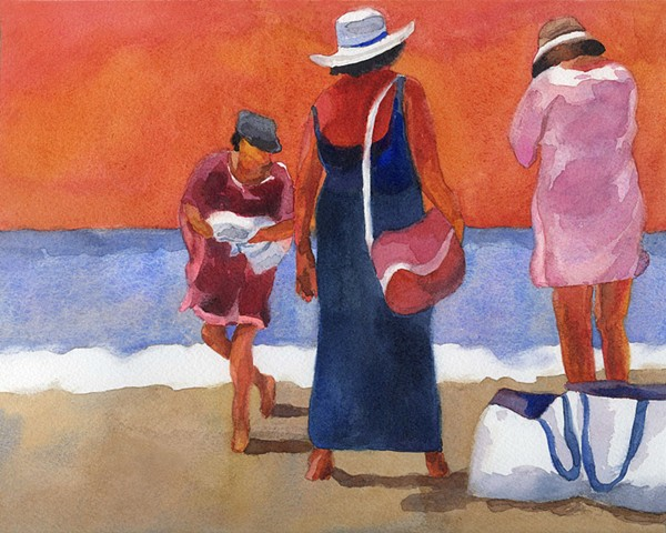 watercolor painting by Edie Fagan women beach hawaii honolulu Waikiki ocean red white blue orange