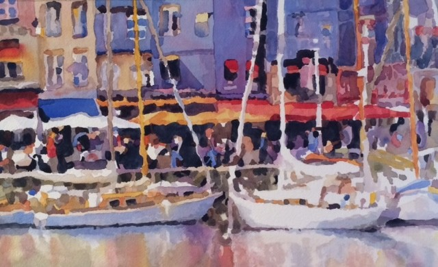 Watercolor painting by Edie Fagan of Honfleur, France, boats, harbor, sailboats