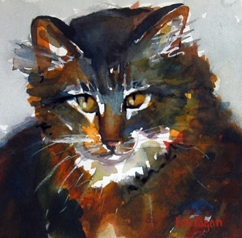 watercolor painting of Maine Coon cat by Edie Fagan