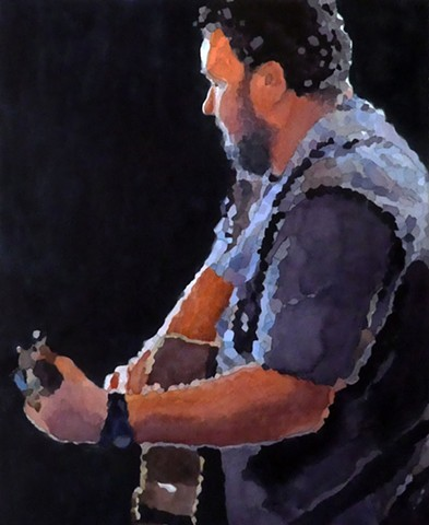 Watercolor painting of man playing guitar by Edie Fagan