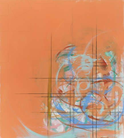 "Chris D Smith, Untitled IM29(ek), 2013, acrylic, oil, charcoal and collage on panel, 40"" x 36"""