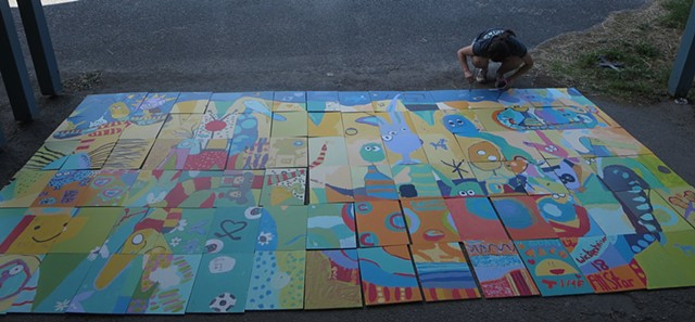 Glenmore Elementary Mural Project 2014, in progress