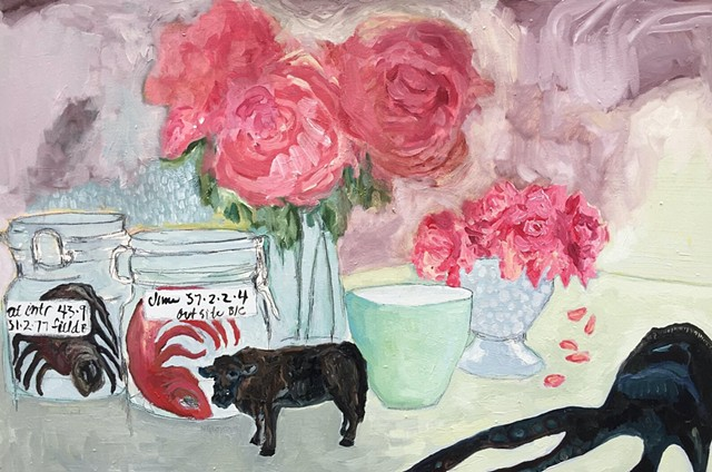 Still Life with Peonies, Roses, Cow, Spider, Fish and Squid