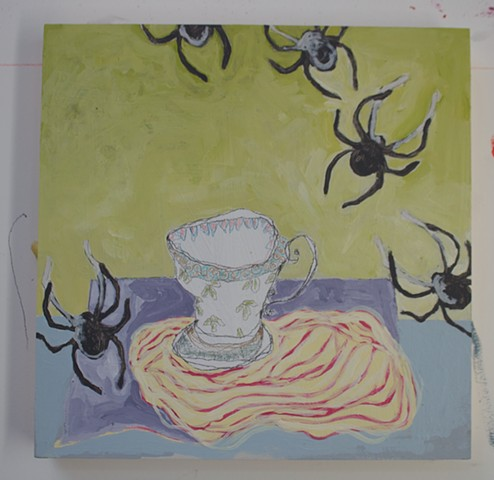 Tea with Spiders, mixed media on cradle board, 12x12'', 2018