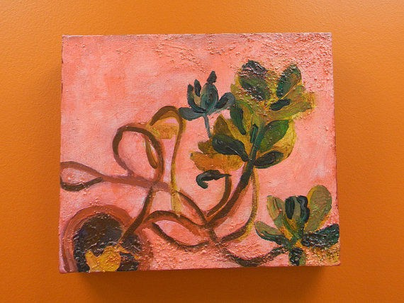 wild, pink, painting, art, ooak, affordable, unique, Rochester, NY, artist, houseplant, painterly, color, colorful, masterpeice, one of a kind, small, decorative, decorate, interior, decorating, plant, botanical, grow, growing, Rochester, NY, artist, cont