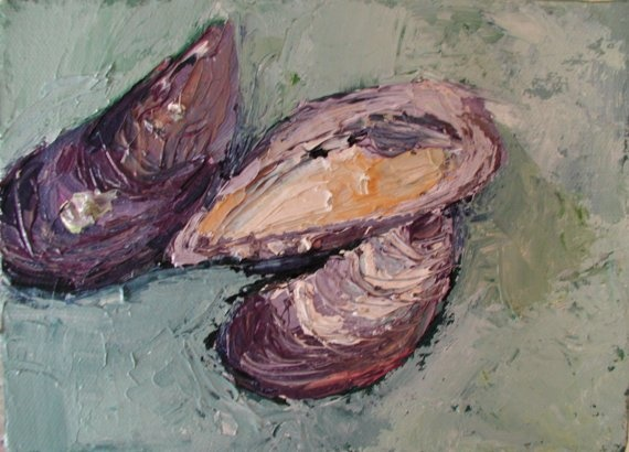 seashells, mussels, mussel, sea, shell, seashell, one of a kind, original, painting, art, Rina, Miriam, Drescher, artist, Rochester, NY