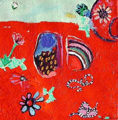 red, bright, snakes, garden, flowers, rocks, painted, paint, painting, original, ooak, unique, Rina Miriam Drescher, art, artwork