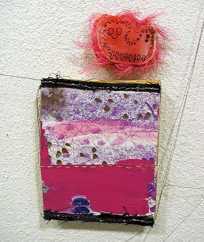 catterpillar, caterpiller, caterpillar, fuzzy, fluffy, hot pink, pink, bright, painting, mixed media, art, artist, Rina Miriam Drescher, rochester, ny, usa, OOAK, small, tiny, paintings