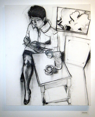 charcoal, canvas, drawing, original, ooak, Rochester, art, artist, woman, young, leg, knitting, figure, girl