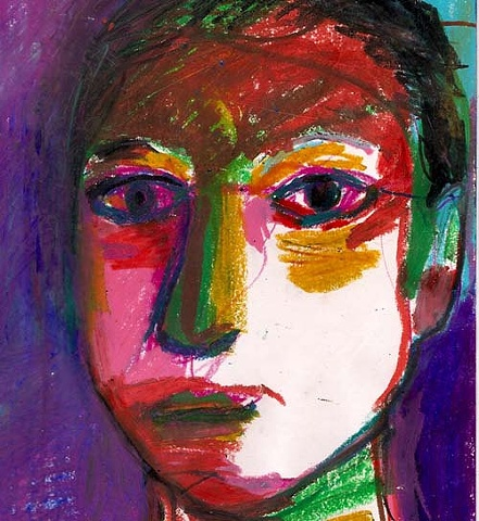 portrait, colorful, person, face, oil pastel, contemporary art, art, artist, original, drawing, illustration, ooak, one of a kind, art original, Rina Miriam Drescher, Rochester NY artist