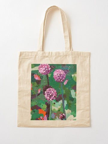Alliums, floral, purple, green, sustainable, shopping bag, tote bag, tote, carry all