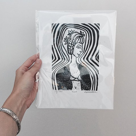 Black and White Linoleum Block Limited Edition Original Print Vibe Linocut Of A Woman by Rochester New York Artist Rina Miriam Drescher