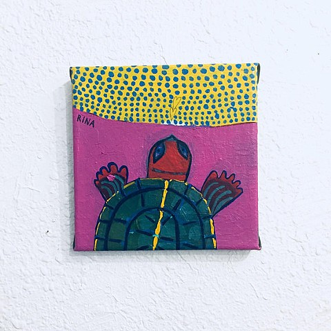 pink turtle art turtle painting small original acrylic turtle artwork