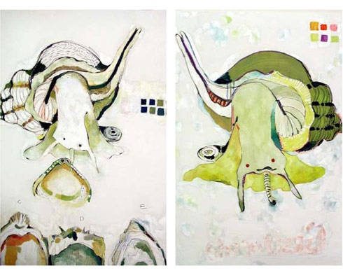 two large mostly white contemporary paintings of snails