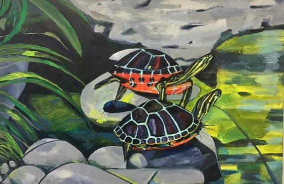 painting of two turtles together by Rochester NY artist Rina Miriam Drescher nature painting art