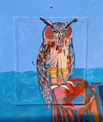 original acrylic painting of an owl on a tree stump