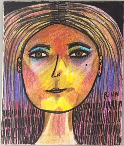 ink drawing, colored pencil drawing, small affordable art, drawings of women
