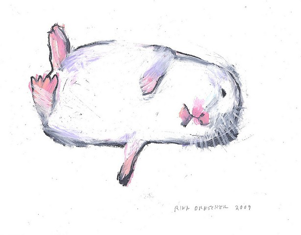 small drawing of a white hamster in a coma