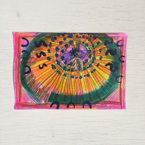 small colorful art, pink drawing, mixed media art