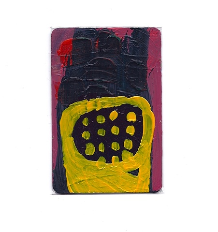 artist trading card, it is bright yellow and dark purple, painting, acrylic paintings, tiny art, yellow, purple, abstract art