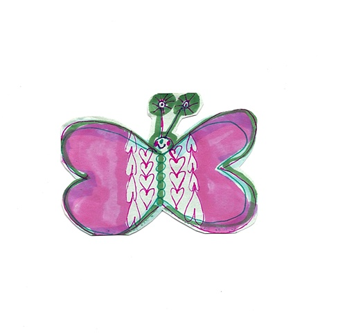 pink, art, artist, butterfly, rochester, ny, contemporary, drawing, aceo, artist trading card, ooak, one of a kind, unique, butterflies, small, tiny, illustration, design, collect, trade, affordable, fun