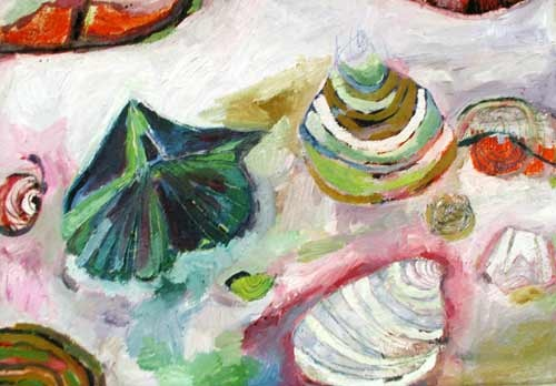 this is a contemporary fine art original oil painting of seashells and fossils in multiple colors