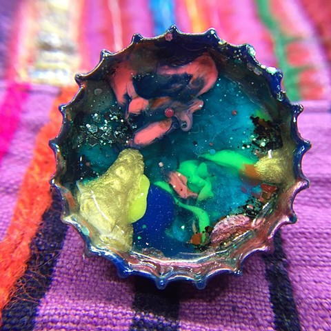 upcycled bottle cap art, wearable art pins, abstract painting brooches, fine art bottle cap paintings