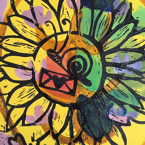 snail mail sunflower yellow linoleum block print original painting