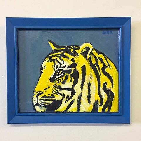 Original acrylic painting of a blue and yellow tiger by Rochester New York artist Rina Miriam Drescher