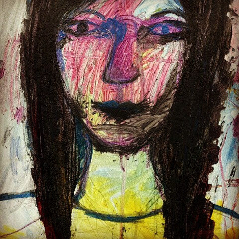 This is an expressionsit painting of a woman's face.