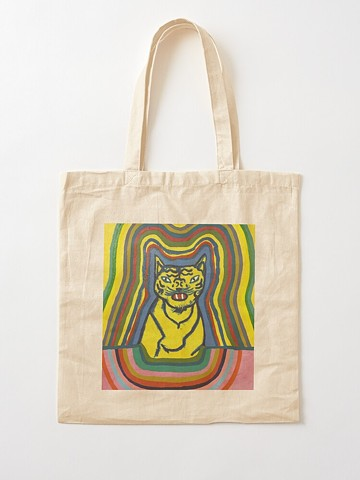 Yellow, tiger, tote, tote bag, shopping bag, reusable, sustainable