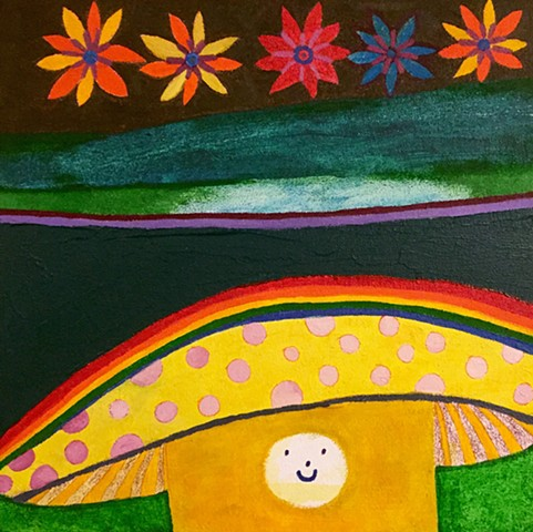 Yellow Mushroom Retro Vibe Painting Acrylic + Oil Fine Art Whimsical Artwork Rochester New York Artist Rina Miriam Drescher