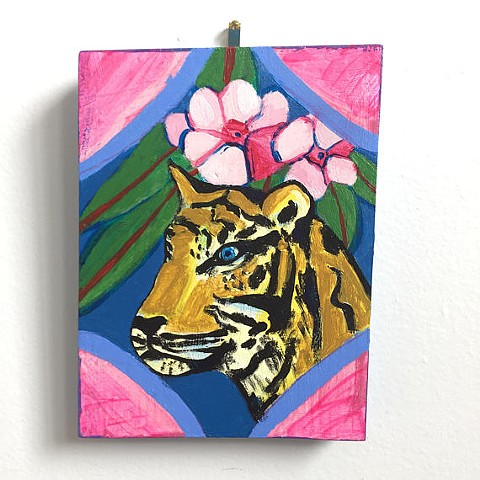 small pink blue orange painting of a pretty tiger with pink flowers acrylic on wood illustration