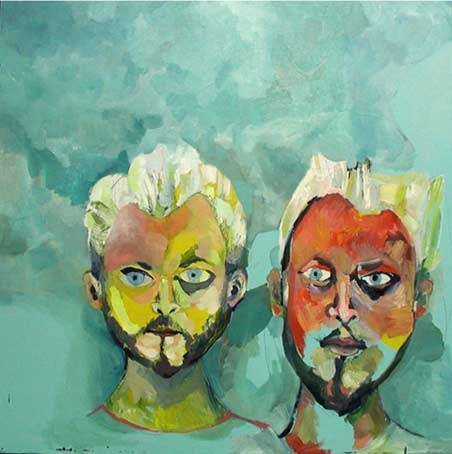 this is a contemporary fine art oil painting of two men, mostly their heads, in turquoise, red and yellow