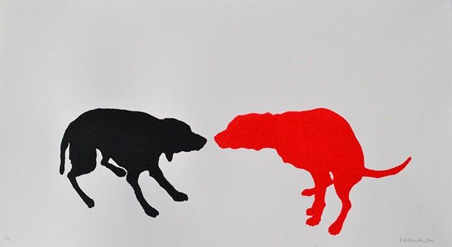 Kitty blandy two dogs black and red