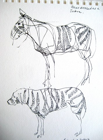 horse and dog with zebra camouflage